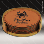 Laser Engraved Leather Coaster Set Round Stitched Edge Rawhide Etched Gift Leather Round Stitched Edge Coaster Sets