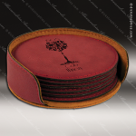 Laser Engraved Leather Coaster Set Round Stitched Edge Rose' Etched Gift Leather Round Stitched Edge Coaster Sets