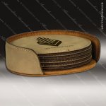 Laser Engraved Leather Coaster Set Round Stitched Edge Light Brown Etched G Leather Round Stitched Edge Coaster Sets