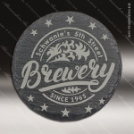 Laser Engraved Slate Coaster Round Etched Gift - Black Slate Leather Round Stitched Edge Coasters