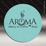 Laser Engraved Leather Coaster Round Stitched Edge Etched Gift - Teal Leather Round Stitched Edge Coasters