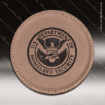 Laser Engraved Leather Coaster Round Stitched Edge  Light Brown Etched Gift Leather Round Stitched Edge Coasters