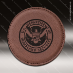 Laser Engraved Leather Coaster Round Stitched Edge Dark Brown Etched Gift Leather Round Stitched Edge Coasters