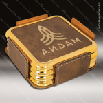 Laser Engraved Leather Coaster Set Square Metallic Edge Rustic Gold Etched Leather Square Metallic Edge Coaster Sets