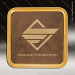 Laser Engraved Leather Coaster  Square Metallic Edge Rustic Gold Etched Gif Leather Square Metallic Edge Coasters