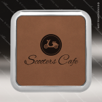 Laser Engraved Leather Coaster  Square Metallic Edge Dark Brown Etched Gift Leather Square Metallic Edge Coasters