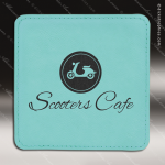 Laser Engraved Leather Coaster Square Stitched Edge Etched Gift - Teal Leather Square Stitched Edge Coasters