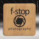 Laser Engraved Leather Coaster Square Stitched Edge Etched Gift - Bamboo Leather Square Stitched Edge Coasters