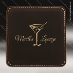 Laser Engraved Leather Coaster Square Stitched Edge Etched Gift - Black Leather Square Stitched Edge Coasters