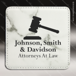 Laser Engraved Leather Coaster Square Stitched Edge Etched Gift - White Mar Leather Square Stitched Edge Coasters