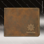 Laser Engraved Leather Bifold Wallet Rustic Gold Etched Gift Leather Wallets
