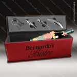 Engraved Etched Leather Wine Tool Set Rose' Presentation Box Gift Set A Leather Wine Gifts