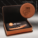Engraved Etched Leather Wine Tool Set Rawhide 2 Piece Gift Set Award Leather Wine Gifts