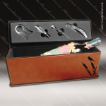 Engraved Etched Leather Wine Tool Set Rawhide Presentation Box Gift Set Leather Wine Gifts