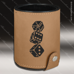 Embossed Etched Leather Dice Cup Set -Light Brown Light Brown Leather Items