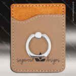 Embossed Etched Leather Phone Wallet with Ring -Light Brown Light Brown Leather Items