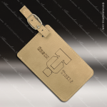 Embossed Etched Leather Luggage Tag Light Brown Gift Light Brown Leather Items
