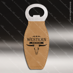 Embossed Etched Leather Magnetic Bottle Opener Light Brown Gift Light Brown Leather Items