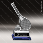 Crystal  Sport Blue Accented Tennis Trophy Award M Series Crystal Awards