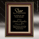 Engraved Mahogany Plaque  Framed Black Plate Border Wall Placard Award Mahogany Finish Award Plaques