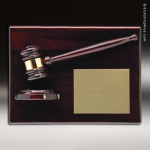 Corporate Mahoghany Plaque Gavel & Sounding Block Wall Placard Award Mahogany Finish Award Plaques