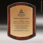 Corporate Mahoghany Plaque Gold Excalibur Edge Wall Placard Award Mahogany Finish Award Plaques