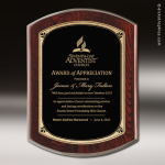 Corporate Mahoghany Plaque Black Excalibur Edge Wall Placard Award Mahogany Finish Award Plaques