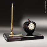 Desk Gift Mahogany Piano Finish Scholstic Apple Pen Engraved Clock Award Mahogany Finish Clocks