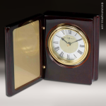Desk Gift Mahogany Piano Finish Book Engraved Clock Award Mahogany Finish Clocks