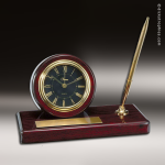 Desk Gift Mahogany Piano Finish Round Engraved Clock Award with Pen Mahogany Finish Clocks