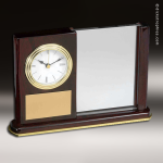 Desk Gift Mahogany Piano Finish Rectangle Engraved Clock Award with Photo H Mahogany Finish Clocks