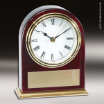 Desk Gift Mahogany Piano Finish Slanted Arch Engraved Clock Award Mahogany Finish Clocks