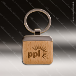 Laser Etched Engraved Keychain Maplewood Square Silver Gift Award Maplewood Keychains