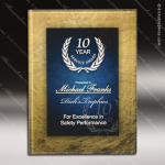 Engraved Acrylic Plaque Blue & Gold Wall Placard Award Marble Accented Acrylic Awards