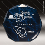 Acrylic Blue Accented Marbleized Octagon Trophy Award Marble Accented Acrylic Awards