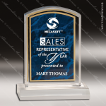 Acrylic Blue Accented Marbleized Arch Trophy Award Marble Accented Acrylic Awards
