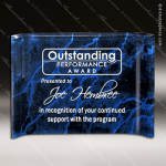 Acrylic Blue Accented Marbleized Crescent Shape Trophy Award Marble Accented Acrylic Awards