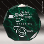Acrylic Green Accented Marbleized Octagon Trophy Award Marble Accented Acrylic Awards