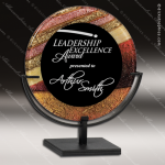 Acrylic Multi-Colored Red Accented Art Plaque Round Standing Trophy Award Marble Accented Acrylic Awards