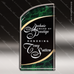 Acrylic Green Accented Marbleized Rectangle Curve Trophy Award Marble Accented Acrylic Awards