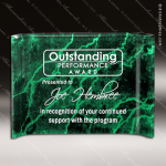 Acrylic Green Accented Marbleized Crescent Shape Trophy Award Marble Accented Acrylic Awards