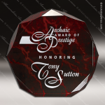 Acrylic Red Accented Marbleizedized Octagon Trophy Award Marble Accented Acrylic Awards