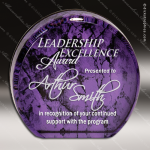 Acrylic Purple Accented Marbleizedized Circle Aurora Trophy Award Marble Accented Acrylic Awards