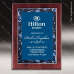 Engraved Rosewood Plaque Blue Marble Border Design Wall Placard Award Marble Colored Finish Plaques