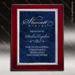 Engraved Rosewood Plaque Blue Marble Plate Silver Border Wall Placard Award Marble Colored Finish Plaques