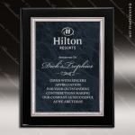 Engraved Black Piano Finish Plaque Blue Gray Marble Silver Border Wall Plac Marble Colored Finish Plaques