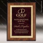 Engraved Walnut Plaque Red Ruby Marble Plate Gold Border Award Marble Colored Finish Plaques
