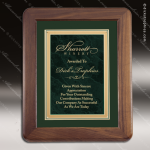 Engraved Walnut Plaque Framed Green Plate Velour Backed Award Marble Colored Finish Plaques