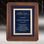 Engraved Walnut Plaque Framed Blue Plate Velour Backed Award Marble Colored Finish Plaques