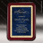 Engraved Rosewood Plaque Blue Marble Plate  Gold Border Award Marble Colored Finish Plaques